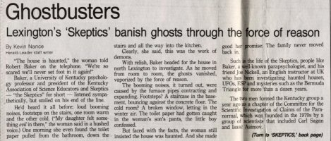 Article on ghostbusting