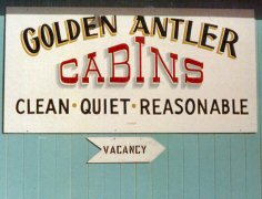 Golden Antler Cabins sign